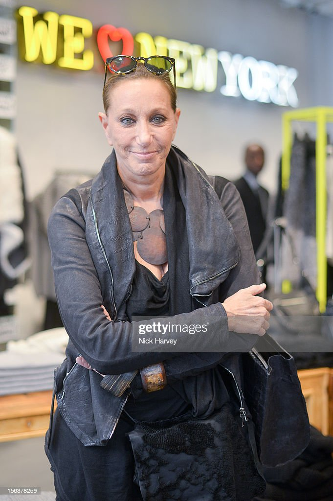 Donna Karan attends the launch of Donna Karan's Heart for Haiti collection in support of The Urban Zen Artisan project at DKNY Store on November 14, 2012 in London, England.