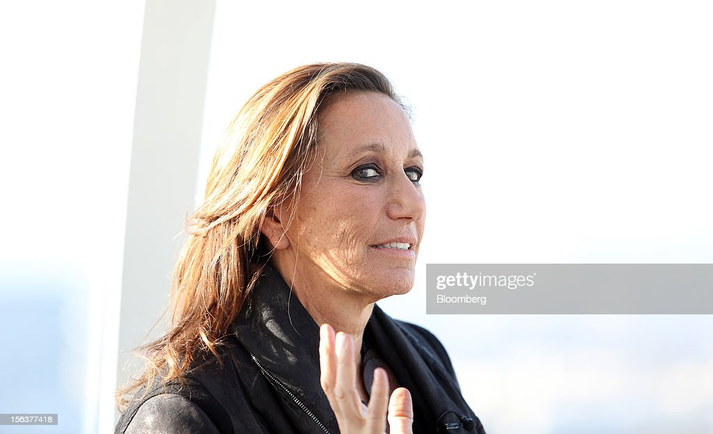 Donna Karan, chief designer of Donna Karan International Inc., reacts during a Bloomberg Television interview on the EDF Energy London Eye in London, U.K., on Wednesday, Nov. 14, 2012. Retail sales in the U.S. fell in October for the first time in four months, influenced by the effects of superstorm Sandy, which hurt receipts for some and helped for others. Photographer: Chris Ratcliffe/Bloomberg via Getty Images