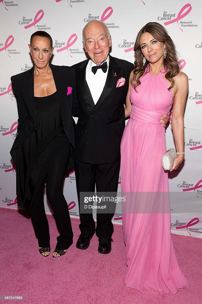 Donna Karan, Leonard A. Lauder, and <a gi-track='captionPersonalityLinkClicked' href=/galleries/search?phrase=Elizabeth+Hurley&family=editorial&specificpeople=201731 ng-click='$event.stopPropagation()'>Elizabeth Hurley</a> attend The Breast Cancer Research Foundation 2014 Hot Pink Party at The Waldorf=Astoria on April 28, 2014 in New York City.