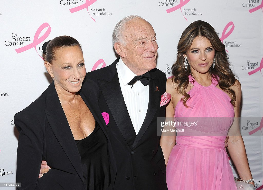 Donna Karan, <a gi-track='captionPersonalityLinkClicked' href=/galleries/search?phrase=Leonard+Lauder&family=editorial&specificpeople=224870 ng-click='$event.stopPropagation()'>Leonard Lauder</a> and <a gi-track='captionPersonalityLinkClicked' href=/galleries/search?phrase=Elizabeth+Hurley&family=editorial&specificpeople=201731 ng-click='$event.stopPropagation()'>Elizabeth Hurley</a> attend The Breast Cancer Research Foundation 204 Hot Pink Party at The Waldorf=Astoria on April 28, 2014 in New York City.