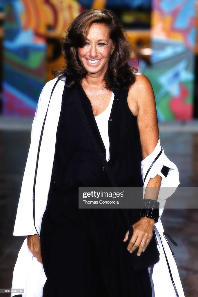 Donna Karan walks the runway at the finale of the DKNY Women's Spring 2014 fashion show during Mercedes-Benz Fashion Week at Cedar Lake in New York City on September 8, 2013.