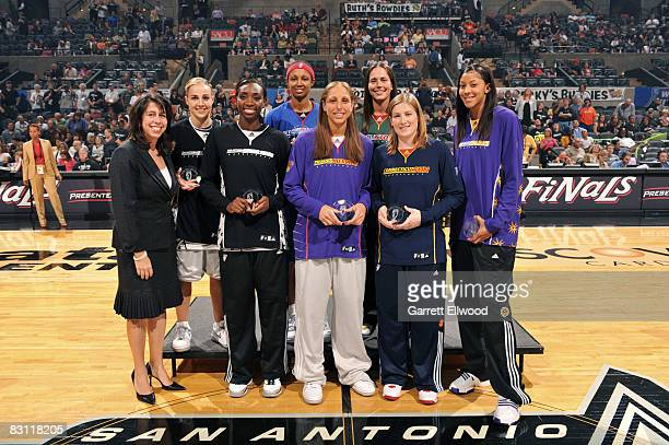 Donna Orender WNBA President Becky Hammon Sophia Young of the San Antonio Silver Stars Deanna Nolan of the Detroit Shock Diana Taurasi of the Phoenix...