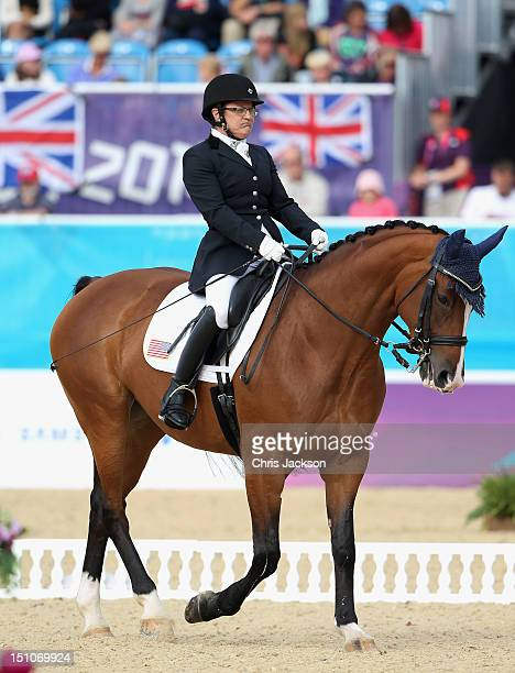 Donna Ponessa of Team USA riding Western Rose competes in the Team Test during equestrian events on day 2 of the London 2012 Paralympic Games at...