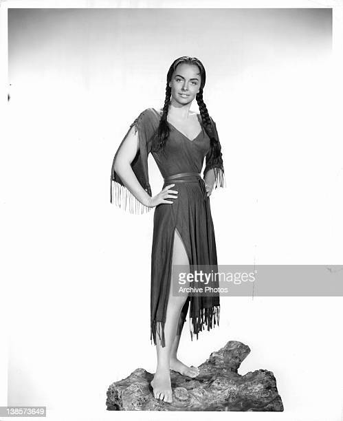 Donna Reed dressed as a Sacajawea Indian for the film 'The Far Horizons' 1955