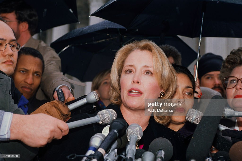 Donna Rice speaks to reporters during a demonstration against pornography on the Internet
