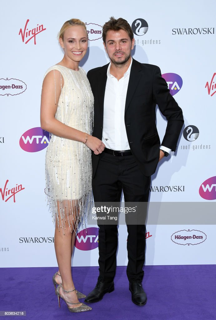 Donna Vekic and Stan Wawrinka attend the WTA Pre-Wimbledon party at Kensington Roof Gardens on June 29, 2017 in London, England.