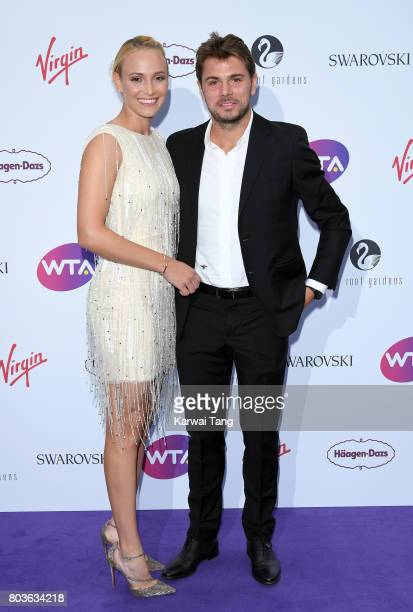 Donna Vekic and Stan Wawrinka attend the WTA PreWimbledon party at Kensington Roof Gardens on June 29 2017 in London England