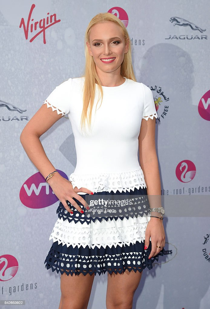 Donna Vekic arrives for the WTA PreWimbledon Party at Kensington Roof Gardens on June 23 2016 in London England