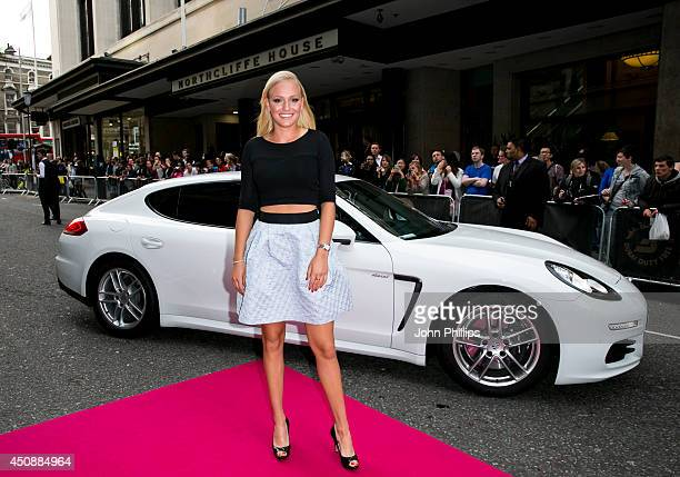 Donna Vekic arrives with a Porsche Panamera for the WTA PreWimbledon Party at Kensington Roof Gardens on June 19 2014 in London England