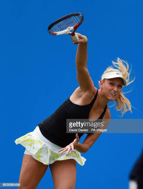 Donna Vekic in action against Belinda Bencic during the AEGON Classic at Edgbaston Priory Club Birmingham