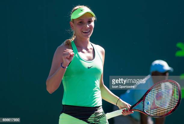 Donna Vekic in action during the second day of the qualifying round of the 2017 Miami Open on March 21 at Tennis Center at Crandon Park in Key...