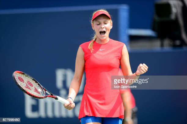 Donna Vekic of Croatia celebrates after winning her first round match at the 2017 Rogers Cup tennis tournament on August 8 at Aviva Centre in Toronto...