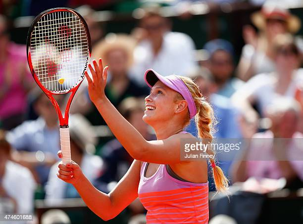 Donna Vekic of Croatia celebrates match point in her Women's Singles match against Caroline Garcia of France on day one of the 2015 French Open at...
