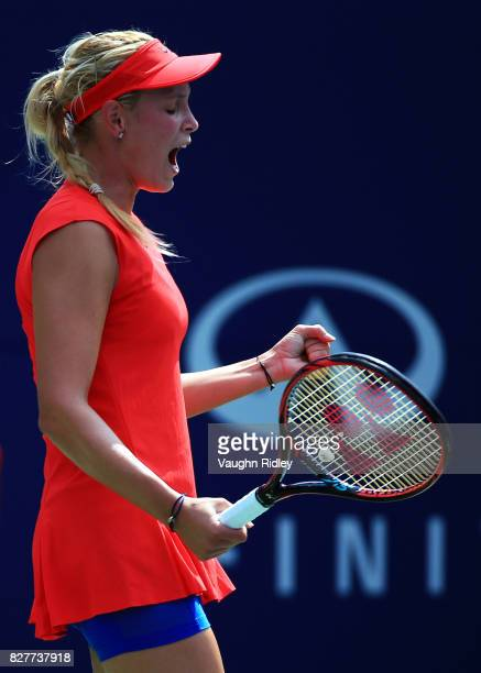 Donna Vekic of Croatia celebrates victory over Eugenie Bouchard of Canada during Day 4 of the Rogers Cup at Aviva Centre on August 8 2017 in Toronto...