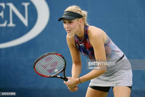 Donna Vekic of Croatia during her first round Women's Singles match against Beatriz Haddad Maia of Brazil on Day One of the 2017 US Open at the USTA...