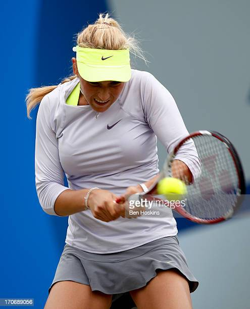 Donna Vekic of Croatia hits a backhand in the women's singles final against Daniela Hantuchova of Slovakia during day eight of the AEGON Classic...