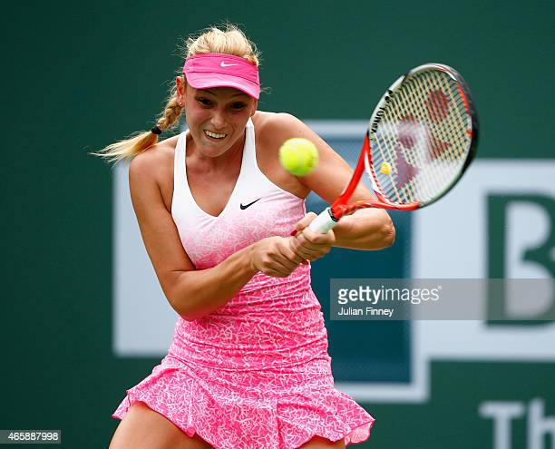Donna Vekic of Croatia in action against Louisa Chirico of USA during day three of the BNP Paribas Open tennis at the Indian Wells Tennis Garden on...