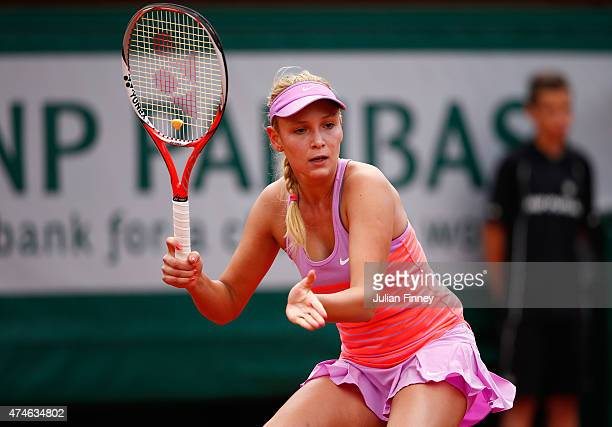 Donna Vekic of Croatia in action in her Women's Singles match against Caroline Garcia of France on day one of the 2015 French Open at Roland Garros...