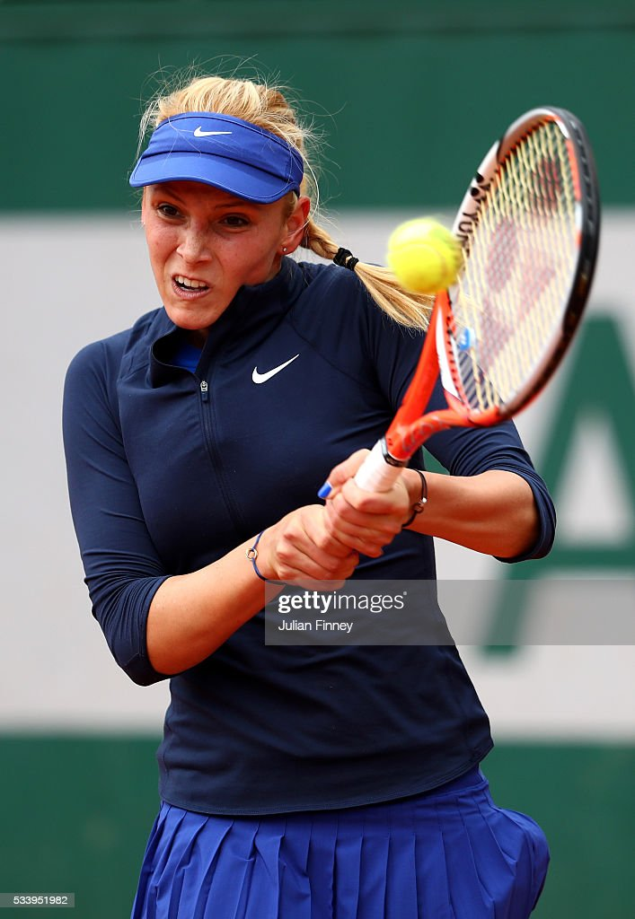 Donna Vekic of Croatia plays a backhand during the Women's Singles first round match against Madison Keys of the United States on day three of the 2016 French Open at Roland Garros on May 24, 2016 in Paris, France.