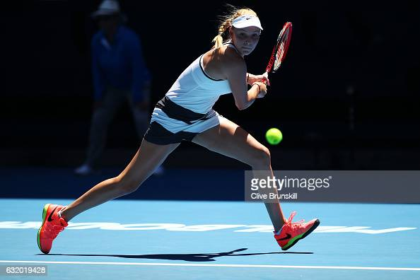 Donna Vekic of Croatia plays a backhand in her second round match against Caroline Wozniacki of Denmark on day four of the 2017 Australian Open at...