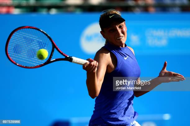 Donna Vekic of Croatia plays a forehand during her Women's Singles Final match against Johanna Konta of Great Britain during day 7 of the Aegon Open...