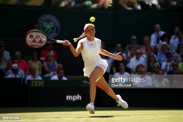 Donna Vekic of Croatia plays a forehand during the Ladies Singles second round match against Johanna Konta of Great Britain on day three of the...