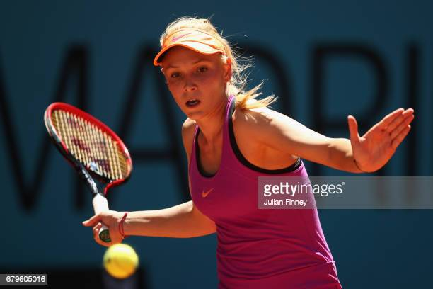 Donna Vekic of Croatia plays a forehand in her match against Shelby Rogers of USA during day one of the Mutua Madrid Open tennis at La Caja Magica on...