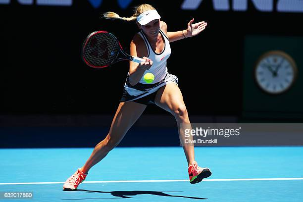 Donna Vekic of Croatia plays a forehand in her second round match against Caroline Wozniacki of Denmark on day four of the 2017 Australian Open at...