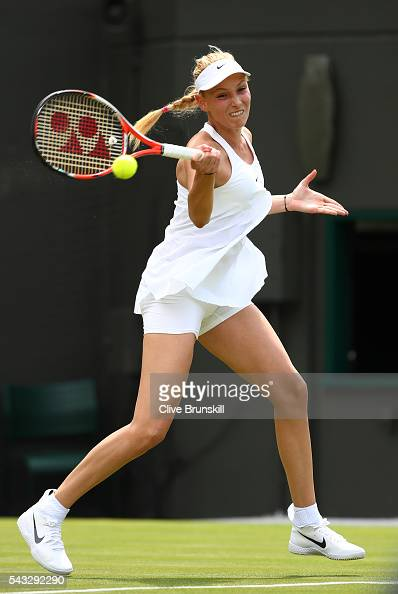 Donna Vekic of Croatia plays a forehand shot during the Ladies Singles first round against Venus Williams of The United States on day one of the...