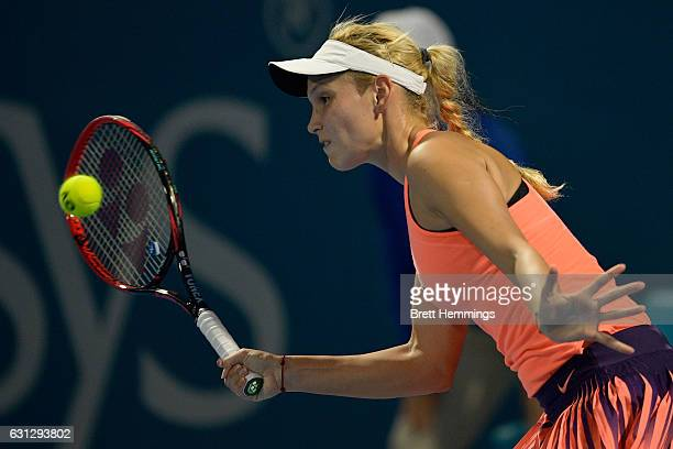 Donna Vekic of Croatia plays a forehand shot in her first round match against Daria Gavrilova of Australia during day two of the 2017 Sydney...