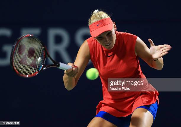 Donna Vekic of Croatia plays a shot against Angelique Kerber of Germany during Day 5 of the Rogers Cup at Aviva Centre on August 9 2017 in Toronto...