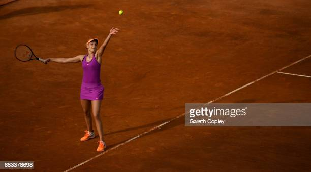 Donna Vekic of Croatia plays a shot during her first round match against Caroline Garcia of France in The Internazionali BNL d'Italia 2017 at Foro...