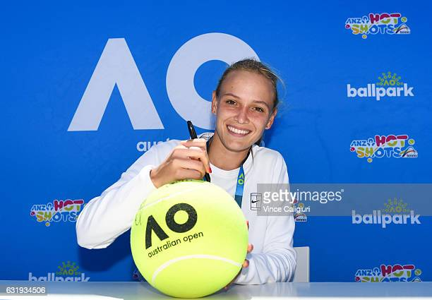 Donna Vekic of Croatia poses at Autograph Island during day three of the 2017 Australian Open at Melbourne Park on January 18 2017 in Melbourne...