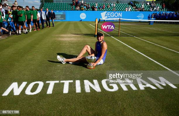 Donna Vekic of Croatia poses with the trophy after victory in her Women's Singles Final match against Johanna Konta of Great Britain during day 7 of...