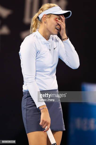 Donna Vekic of Croatia reacts after losing the point CoCo Vandeweghe of the United States during the women's singles first round on day three of 2017...