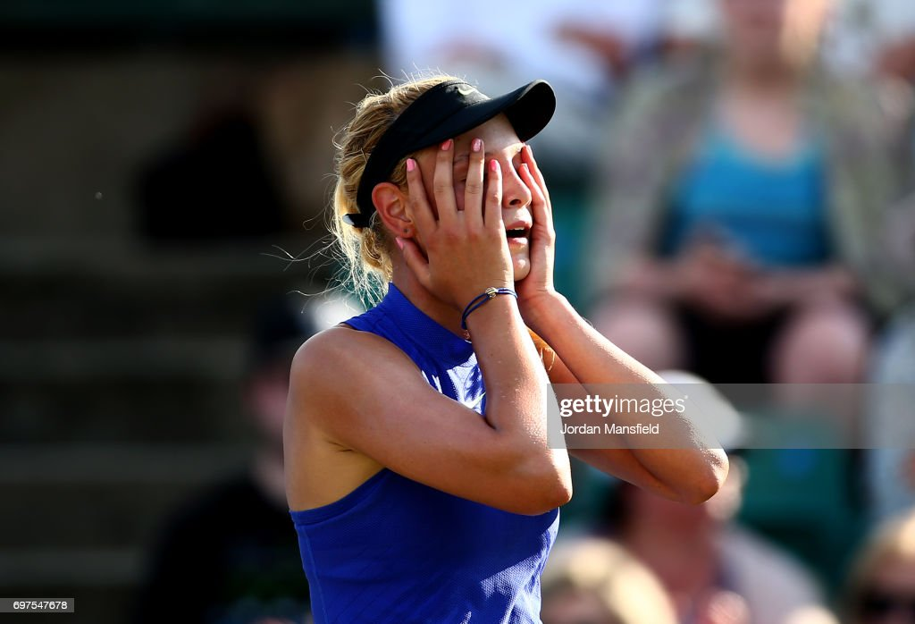 Donna Vekic of Croatia reacts after winning her Women's Singles Final match against Johanna Konta of Great Britain during day 7 of the Aegon Open Nottingham at the Nottingham Tennis Centre on June 18, 2017 in Nottingham, England.