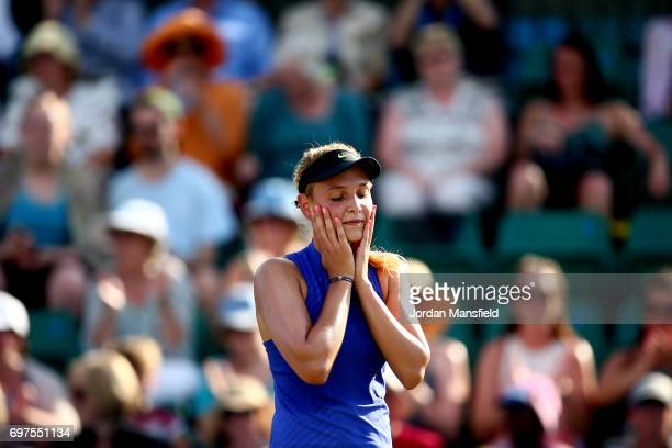 Donna Vekic of Croatia reacts after winning her Women's Singles Final match against Johanna Konta of Great Britain during day 7 of the Aegon Open...