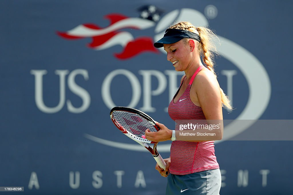 Donna Vekic of Croatia reacts during her women's singles second round match against Simona Halep of Romania on Day Four of the 2013 US Open at USTA...