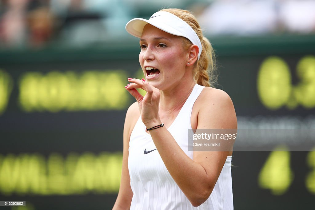 Donna Vekic of Croatia reacts during the Ladies Singles first round against Venus Williams of The United States on day one of the Wimbledon Lawn Tennis Championships at the All England Lawn Tennis and Croquet Club on June 27th, 2016 in London, England.