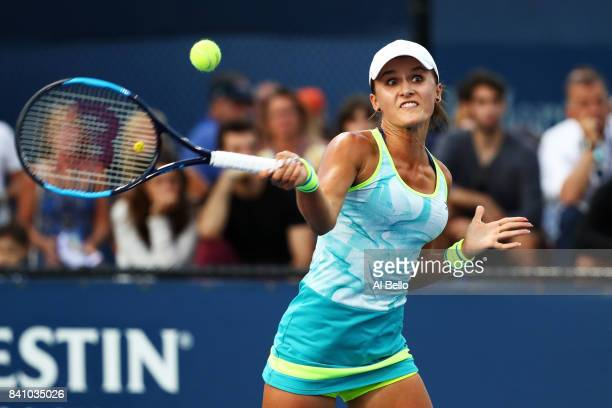 Donna Vekic of Croatia returns a shot against Shuai Peng of China during their second round Women's match on Day Three of the 2017 US Open at the...