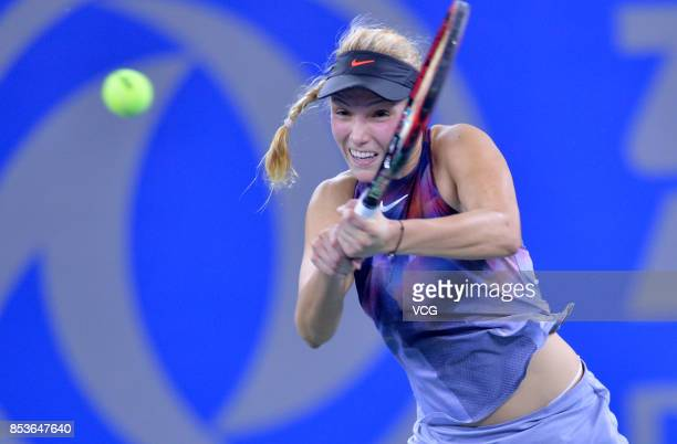 Donna Vekic of Croatia returns a shot during the first round match against Zhang Shuai of China on Day 2 of 2017 Dongfeng Motor Wuhan Open at Optics...