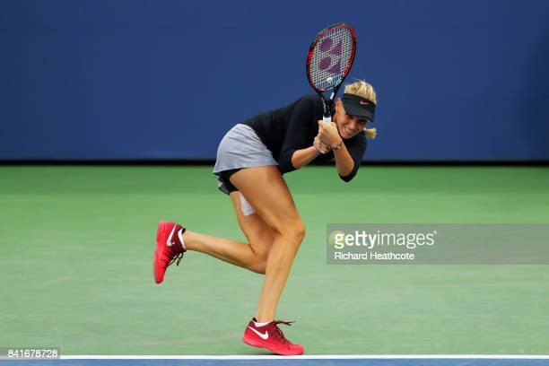 Donna Vekic of Croatia returns a shot to Anastasija Sevastova of Latvia during their third round match on Day Five of the 2017 US Open at the USTA...