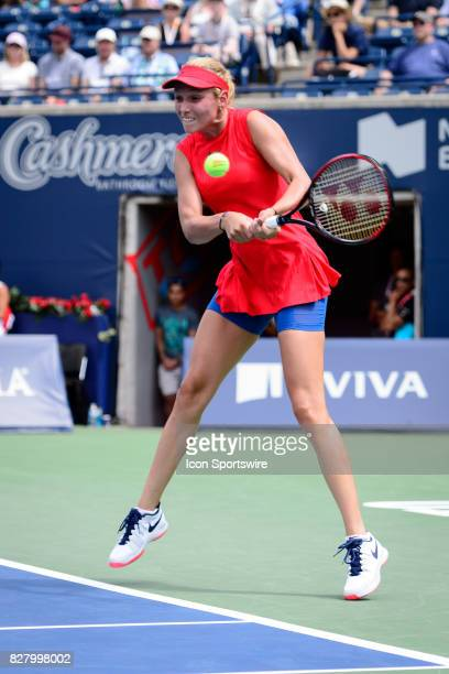 Donna Vekic of Croatia returns the ball during her first round match of the 2017 Rogers Cup tennis tournament on August 8 at Aviva Centre in Toronto...