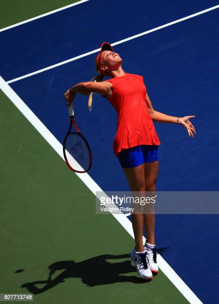 Donna Vekic of Croatia serves against Eugenie Bouchard of Canada during Day 4 of the Rogers Cup at Aviva Centre on August 8 2017 in Toronto Canada