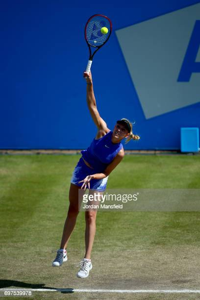 Donna Vekic of Croatia serves during her Women's Singles Final match against Johanna Konta of Great Britain during day 7 of the Aegon Open Nottingham...