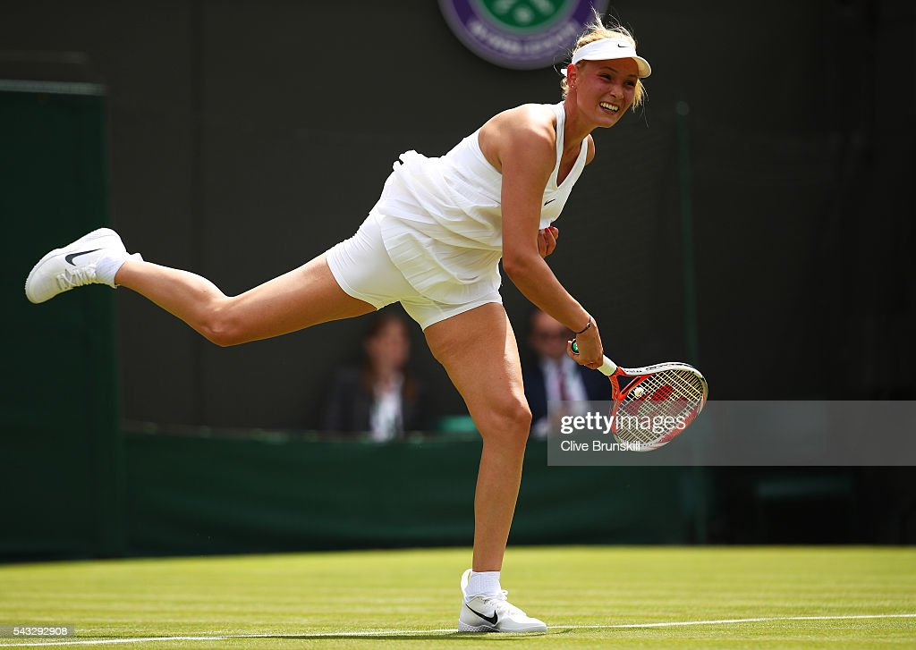 Donna Vekic of Croatia serves during the Ladies Singles first round against Venus Williams of The United States on day one of the Wimbledon Lawn Tennis Championships at the All England Lawn Tennis and Croquet Club on June 27th, 2016 in London, England.