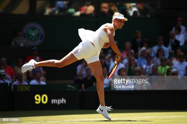 Donna Vekic of Croatia serves during the Ladies Singles second round match against Johanna Konta of Great Britain on day three of the Wimbledon Lawn...