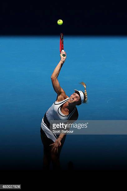 Donna Vekic of Croatia serves in her second round match against Caroline Wozniacki of Denmark on day four of the 2017 Australian Open at Melbourne...