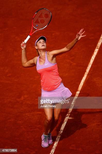 Donna Vekic of Croatia serves in her Women's Singles match against Ana Ivanovic of Serbia on day six of the 2015 French Open at Roland Garros on May...