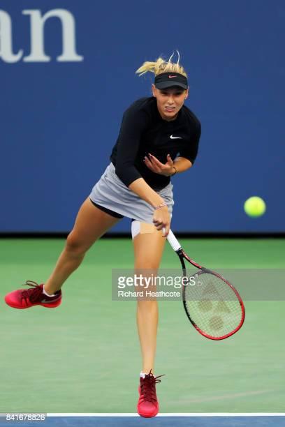 Donna Vekic of Croatia serves to Anastasija Sevastova of Latvia during their third round match on Day Five of the 2017 US Open at the USTA Billie...